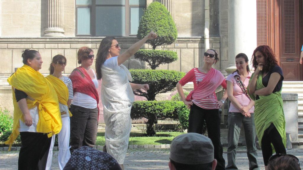 group of women using creative drama for facilitation lesson